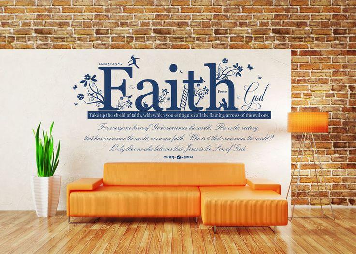 1 John 5 v 4-5, Bible Quote, Vinyl Wall Art Stickers, Mural, Decal. Church, Home