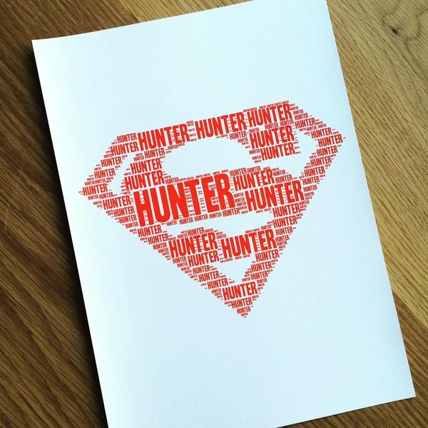 Happy Ella After - Personalised Name prints - custom make your child's name into a print for their bedroom. Bedroom decor, named prints, name it prints. - superman
