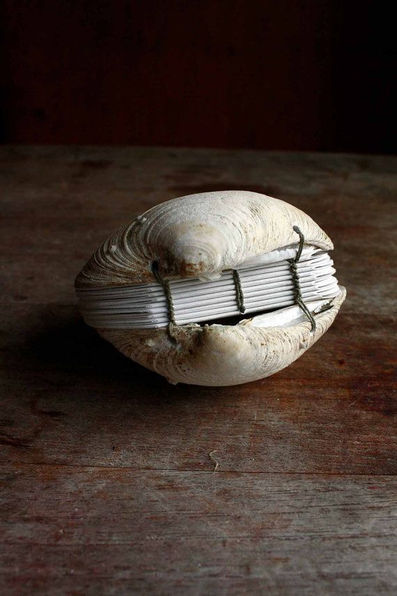 Book of the Sea - Hand stitched Clamshell Book Sculpture - Blank Journal on Etsy, $65.00