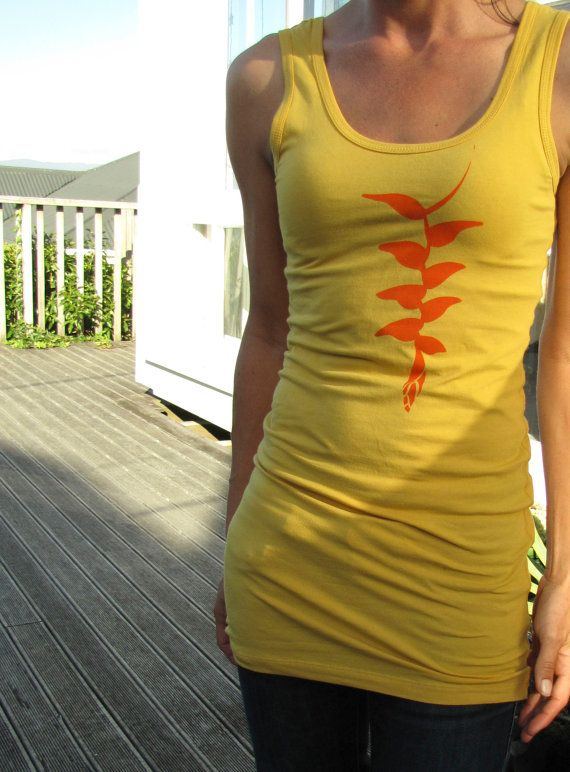 Hanging flowers long tank top in Mustard yellow by Faite on Etsy