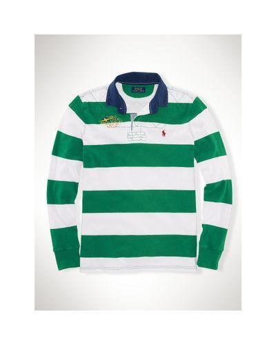 6e67c27a Polo Ralph Lauren - Green Custom-fit Striped Rugby Shirt for Men - Lyst