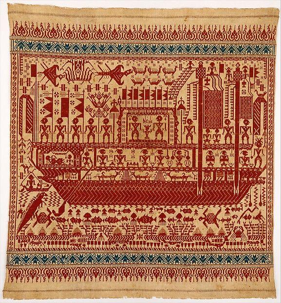 Cotton ceremonial Textile (Tampan), 19th century.  Sumatra, Lampung province, Piya, Wai Ratai River region.
