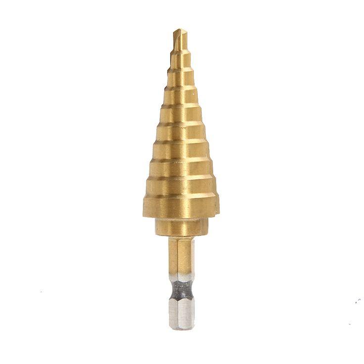 Hex Titanium Langkah Cone Bor Bit Lubang Cutter 4-22 MM HSS 4241 Untuk Lembaran Logam Kayu Pengeboran Alat