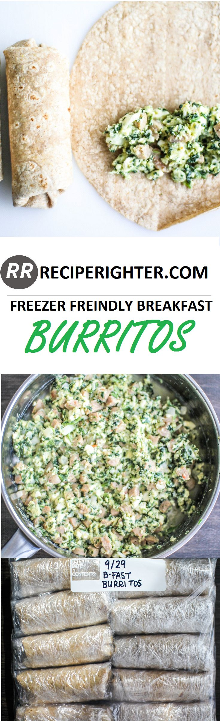 Breakfast Burritos. Healthy. Easy. Freeze. Microwave.
