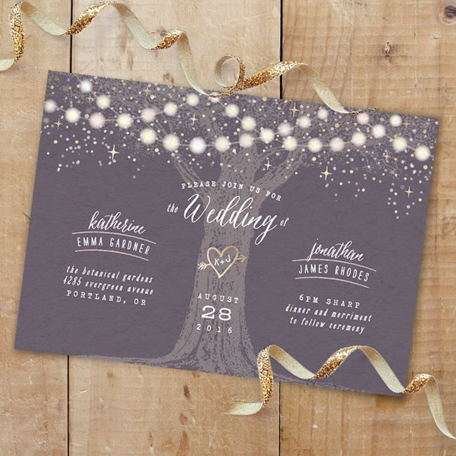 Garden Lights gold foil-pressed wedding Save the Date by Hooray Creative. Perfect for a rustic outdoor wedding.