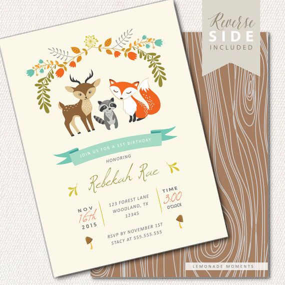 Woodland Birthday Invitation Fox Birthday by LemonadeMoments