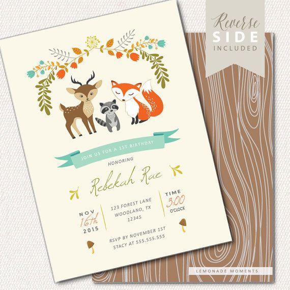 Hey, I found this really awesome Etsy listing at https://www.etsy.com/listing/247187029/woodland-birthday-invitation-fox