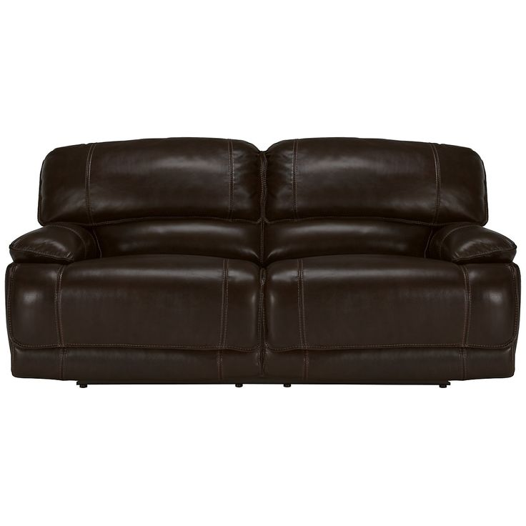 Benson Dk Brown Leather & Vinyl Reclining Sofa