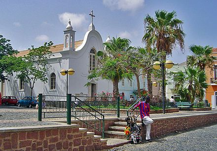 A church in the city of Mindelo, Cape Verde