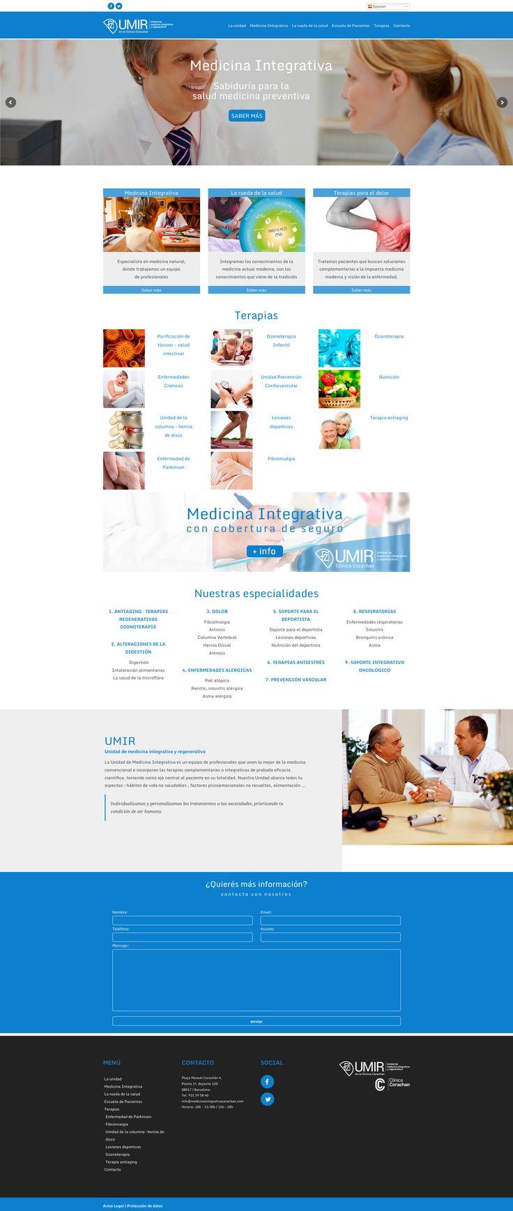 Web para la Unidad de medicina integrativa y regenerativa - UMIR - #laende #web #design #medicina #integrativa #natural #clinica #corachan