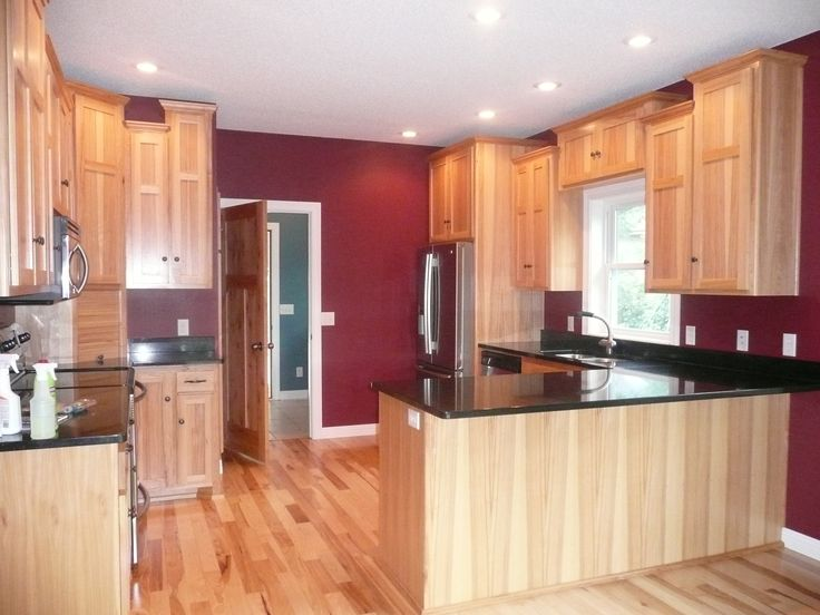 Kitchen  Pinterest  Hickory Cabinets, Cabinets and Red Kitchen