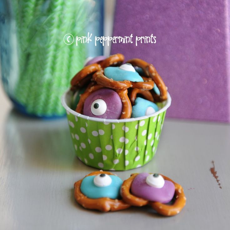 Party Food Ideas: Disney Monster's Inc. Monster's University Pretzel Snacks - Entertain | Fun DIY Party Craft Ideas