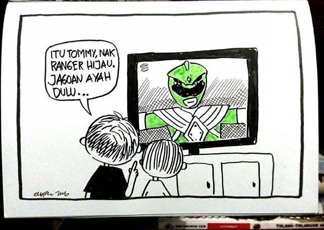 Ilustrasi minggu pagi tadi ketika nonton indosiar #kartun #kartunriau #ilustrasi #filmanak #indosiar #powerrangers #hijau #generasi90an #dagelan #komikinajah #minggurandom