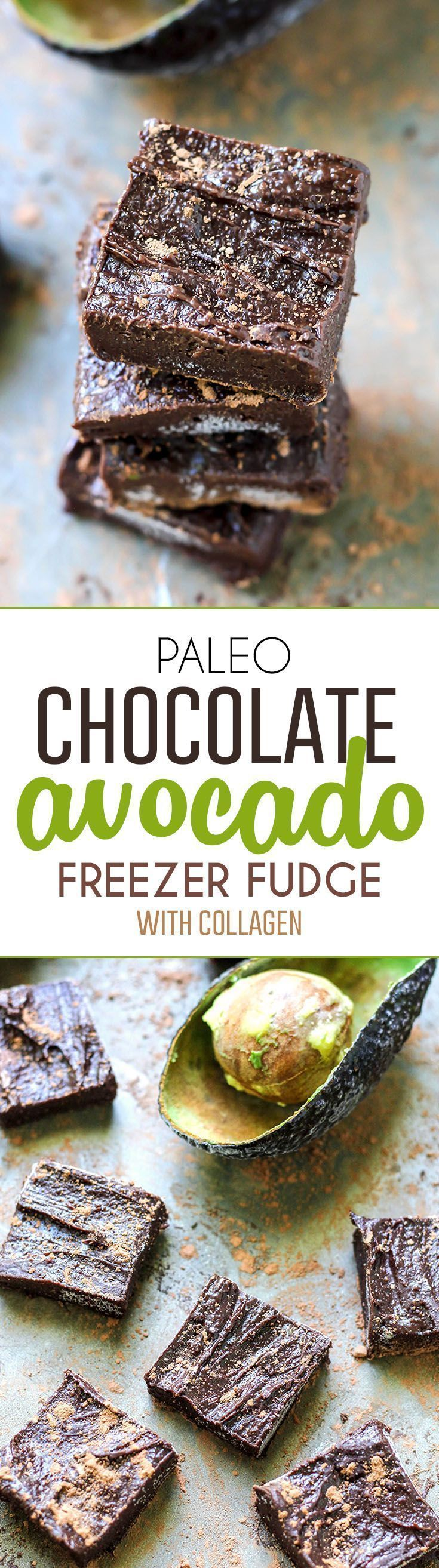 Paleo Chocolate Avocado Freezer Fudge. Just 5 ingredients for these easy, no-bake fudgy treats. (Add mint extract for amazing flavor!!)