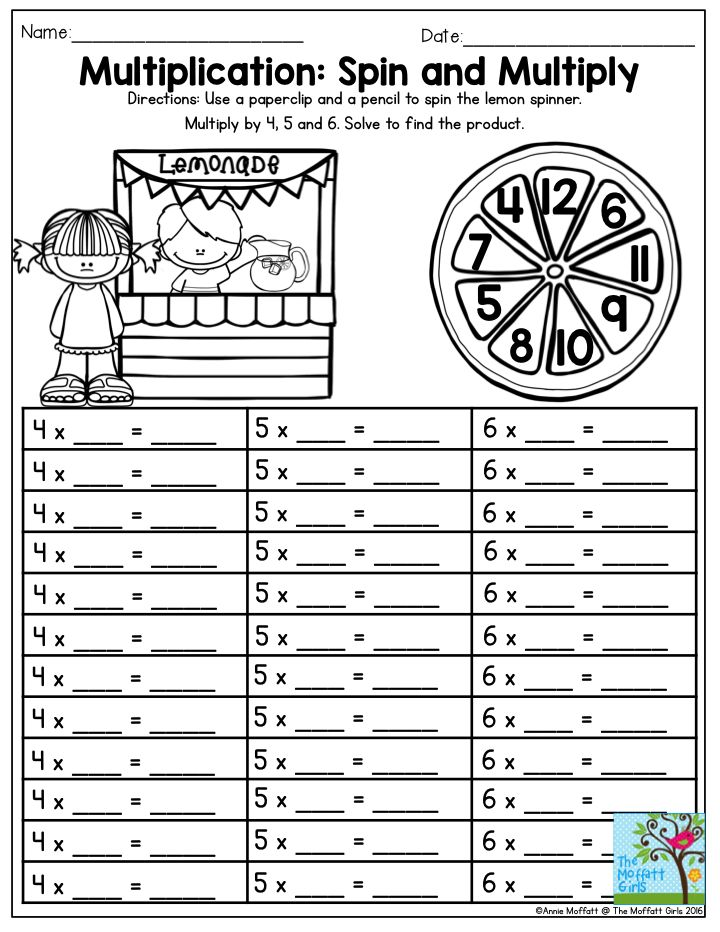 Multiplication: Spin and Multiply- Tons of FUN and hands-on activities to keep your students happy to learn throughout the summer months!  Summer Review NO PREP Packet for 3rd Grade.