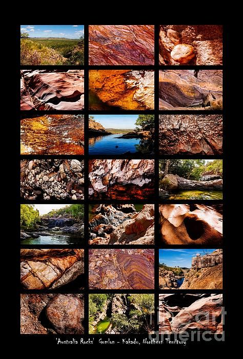 Gumlon, Kakadu NP. 'AUSTRALIA ROCKS' Montages. An intimate look at the incredibly fascinating rocks and their formations around Australia. This country has some of the oldest and diverse rock formations in the world.   Visit my photo gallery and get a beautiful Fine Art Print, Canvas Print, Metal or Acrylic Print. 30 days money back guarantee on every purchase so don't hesitate to bring some 'INTEREST and COLOUR' in your home or office!  Prints for sale by Lexa Harpell.