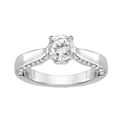 3/4 ct. tw. Canadian Diamond Hearts & Arrows Ring in 18K White Gold
