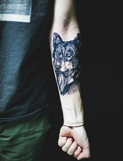 Sweet wolf tattoo. So so so want this, just as a german sheperd. All our dogs are german sheperds.