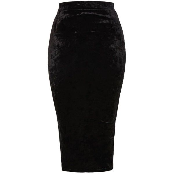 Rika Velvet Skirt by Tfnc ($33) ❤ liked on Polyvore featuring skirts, black, tfnc, bodycon midi skirts, velvet midi skirt, body con skirt and mid-calf skirt