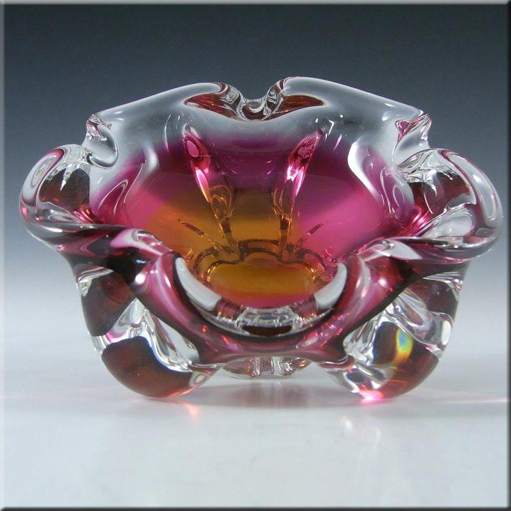 Chribska Czech Pink & Orange Glass Bowl by Josef Hospodka #3 - £30.00