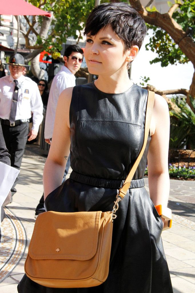 "Ginnifer Goodwin makes an appearance in a cute leather dress at the Grove for a taping of ""Extra"