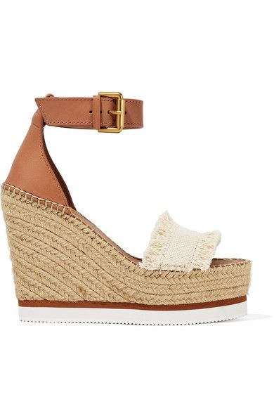 SEE BY CHLOÉ | Canvas and leather espadrille wedge sandals #Shoes #Espadrilles #Wedges #SEE BY CHLOÉ