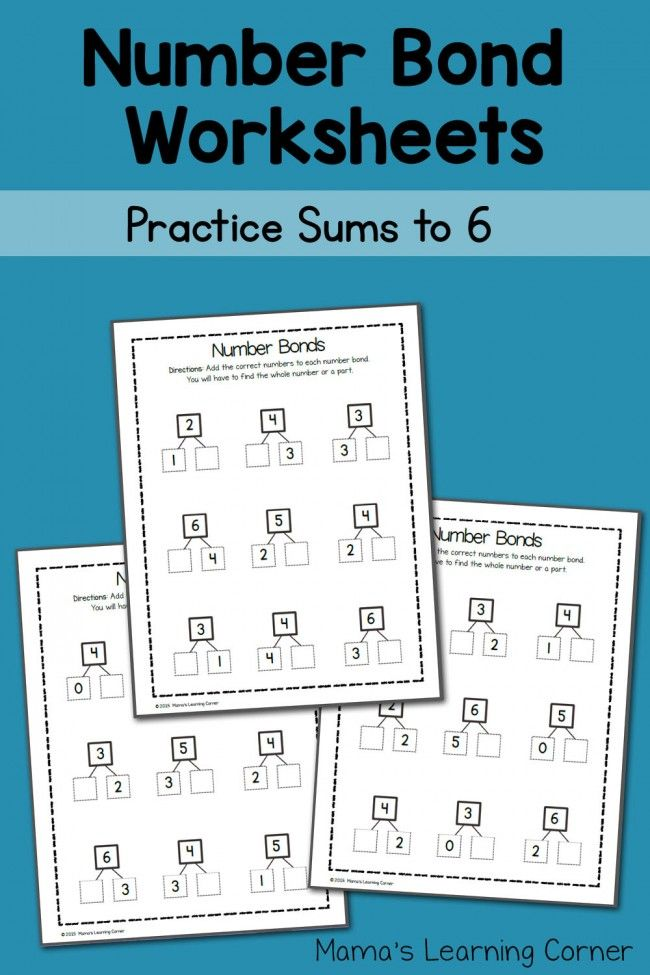 Free Number Bond Worksheets: Sums to 6