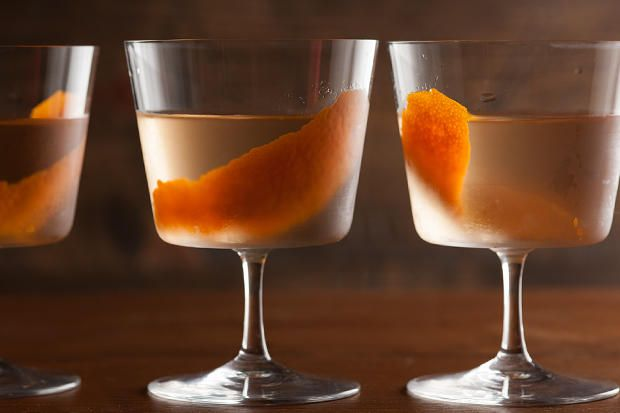 A sophisticated cocktail recipe made with sherry, orange, gin, Lillet Blanc, and a dash of angostura bitters.