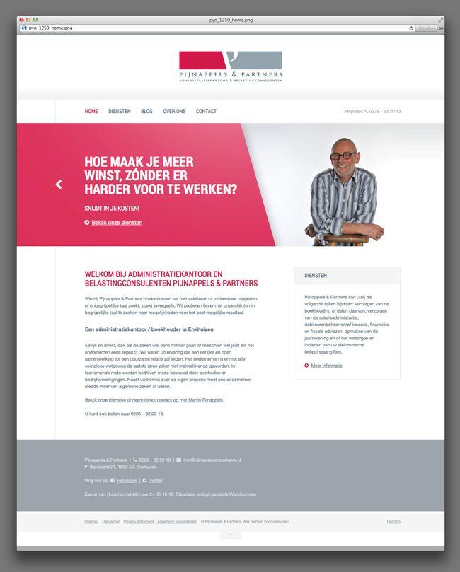 Responsive WordPress website ontwerp en development voor Pijnappels & Partners (Enkhuizen)  Pijnappels & Partners te Enkhuizen is een gespecialiseerd kantoor dat zich richt op administratieve begeleiding en ondersteuning van de ondernemer in het MKB.