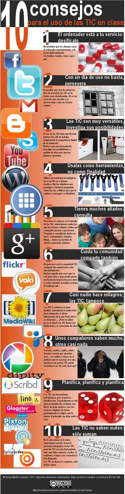 10 consejos para el uso de las TIC en clase.  #tic #consejos #clases #infografia #infografía #infografias #infograph #graph #graphics #infographics