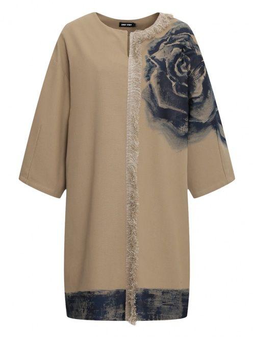Платье из льна и хлопка с узором - Общий вид