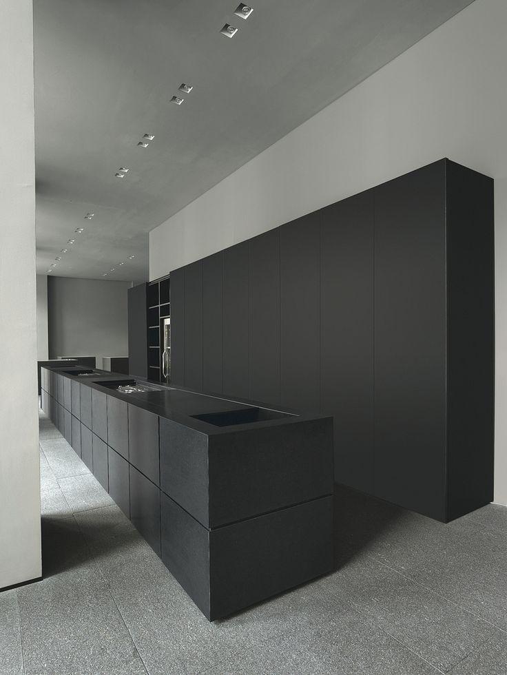 Minimal black kitchen.