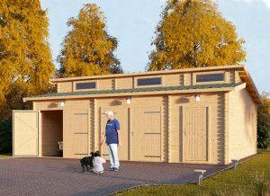 Holzgarage Modern 800 x 600 44 mm, 48 m², zweifach