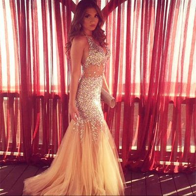 New Champagne Mermaid Prom Dresses Long Luxury V Neck Tulle Crystal Evening Party Dress Cheap Formal Gown