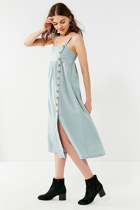651632e1f9 UO Deena Striped Linen Button-Down Midi Dress