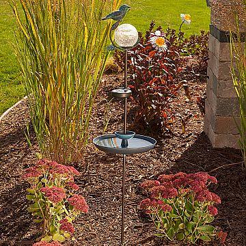 aquarius solar birdbath two in one decorative birdbath and solar accent for the garden