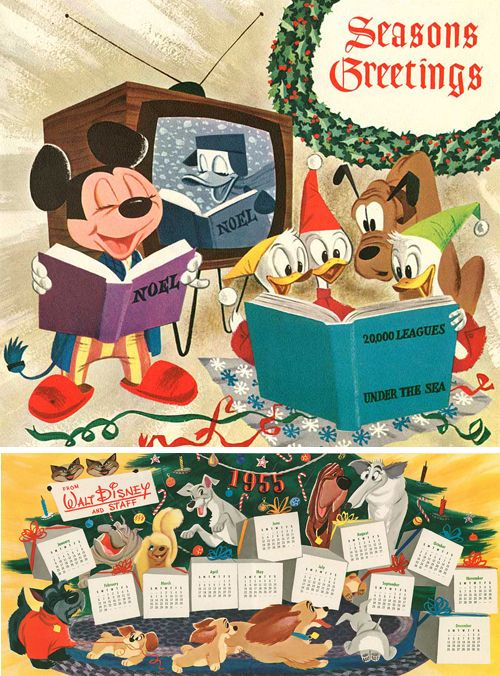 vintage disney christmas, the bottom one celebrates the release of Lady and the Tramp.