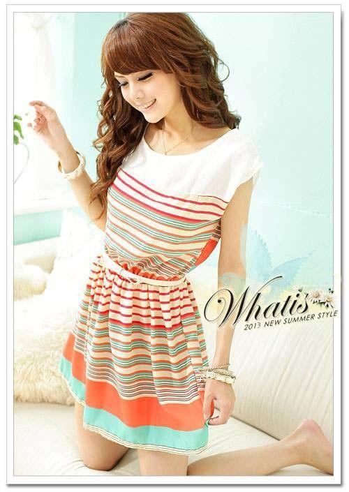 Buy here: http://www.tomtop.com/fashion-women-s-colorful-stripes-chiffon-party-mini-dress-clubwear-elastic-waist-g0164.html