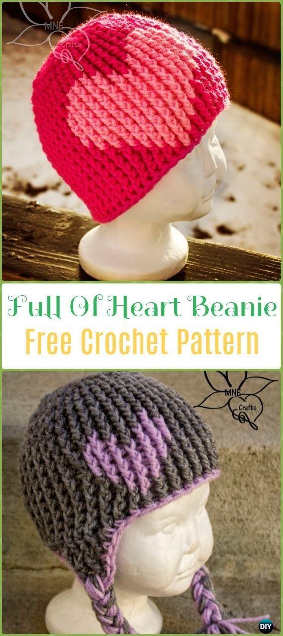 Crochet Emy's Full of Love Beanie Hat Free Pattern - Crochet Beanie Hat Free Patterns