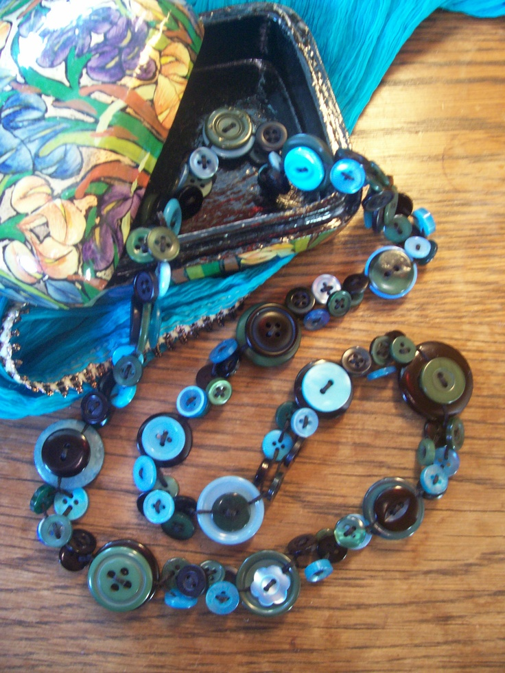 Olive, Turquoise and Black Button Necklace by Bubbles Buttons #button #necklace