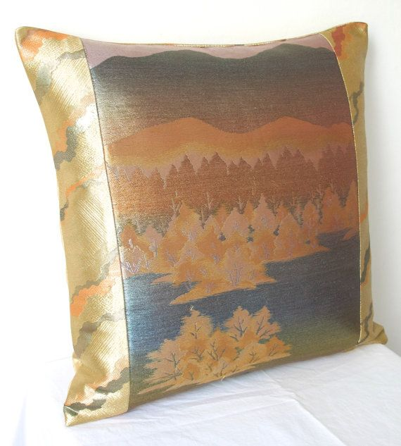 Metallic Cushion in a Subtle Ombre Landscape of Trees & Hills from Vintage Japanese Obi Silk Ltd Edition of 2 NEW A/W15