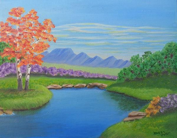 This actually reminds me of one of my paintings, with the organic shape of the water edges. Interesting to see that parallel. The palette in this work is very happy and bright, and feels like a pleasant mid-summer day to me. I like your title, and can imagine enjoying a period of day dreaming here! +Sheri Keith