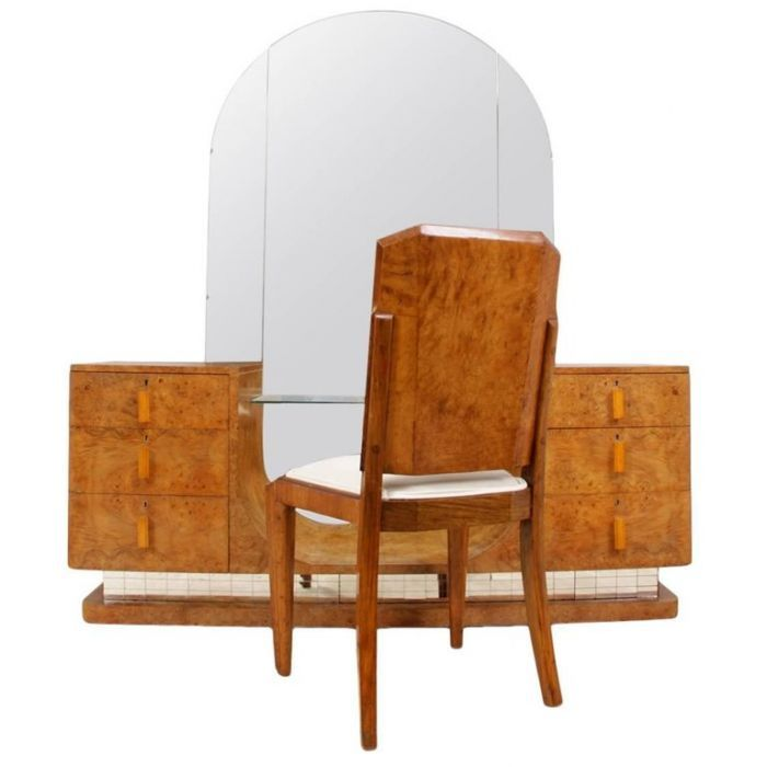 Art Deco Maple Dressing Table and Stool by Hillie | The Kairos Collective
