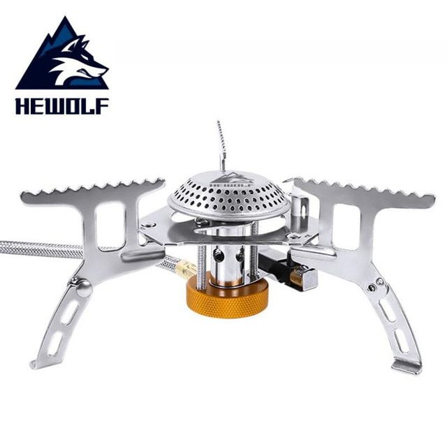 Hewolf Folding Outdoor Camping Gas Stove Head Hiking Picnic Cooking Portable Stove Head Stainless Steel Cookware Gas S Camping Gas Outdoor Stove Portable Stove