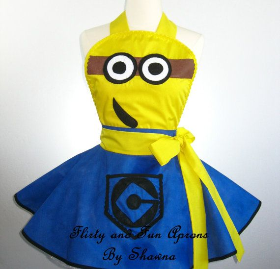 Flirty Adult Minion Costume Apron by FlirtyandFunAprons on Etsy, $55.00, I wanna be this for Halloween!!!