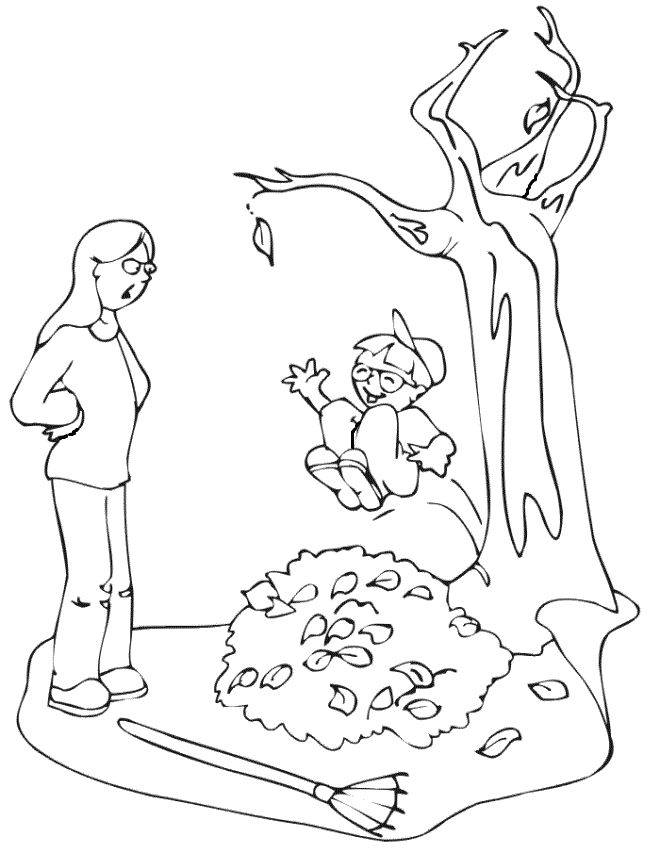 Playing In Leaves Autumn Coloring Pages For Kids Printable And Fall