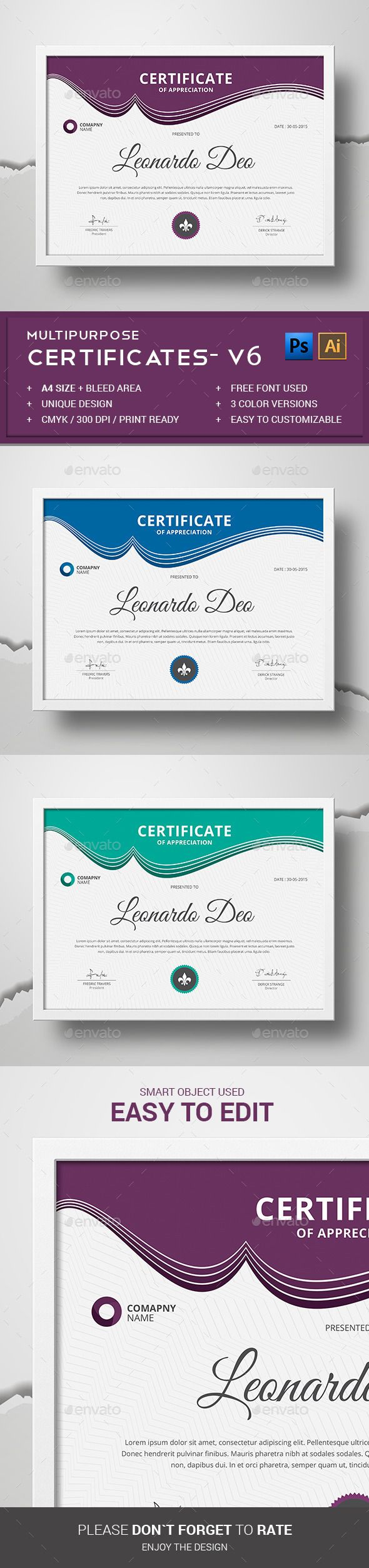 34 best certificate templates psd images on pinterest font logo certificate yelopaper Image collections