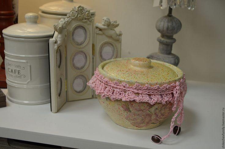 """Купить Горшок """"Винтажные розы"""" - бежевый, Керамика, розы, розовый, кружево, кружево для отделки, керамический"""