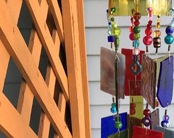 Wind Chime Sun Catcher Stained Glass Up-cycled Wine Bottle Top.  Garden Art!