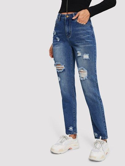740eb013417 Bleach Dye Ripped Jeans in 2019